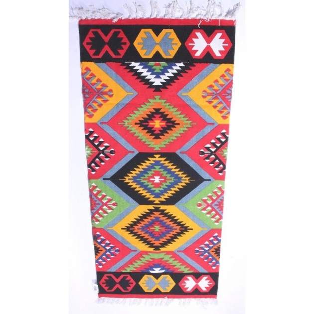 Multicoloured Original Aztec Runner Rug Pics 92