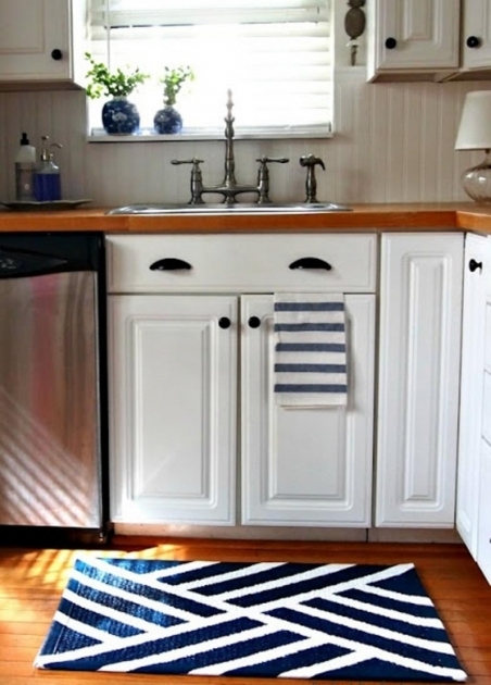 Navy Blue Modern Kitchen Sink Rugs Design With White Color Cabinet Furniture Pic 10