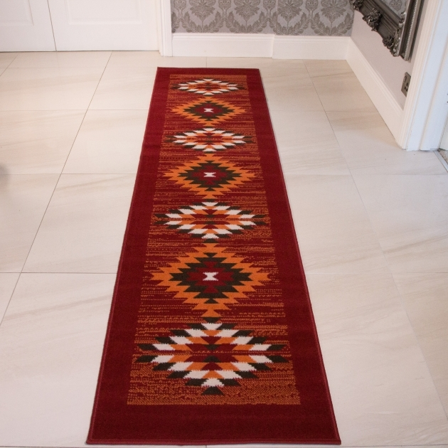 Red Orange Tribal Aztec Runner Rug Photos 15