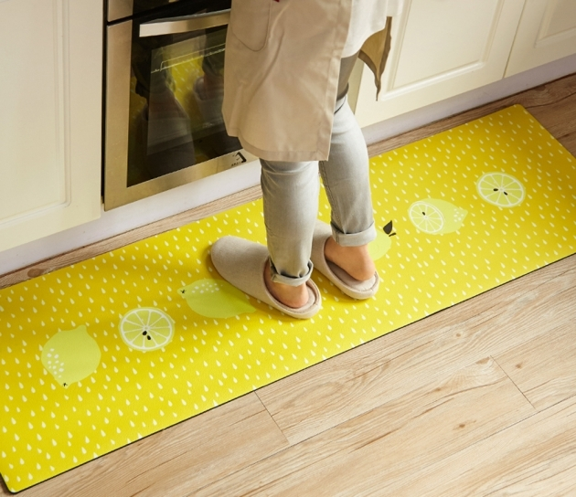 Washable Kitchen Rugs Non Skid 3D Donuts Yellow Lemon 2 Pieces Set Rubber Images 65