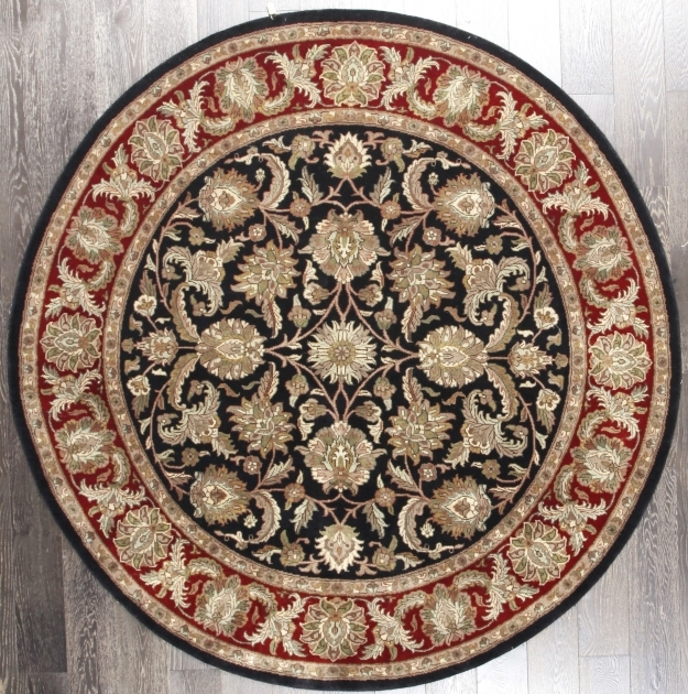 Antique Vintage Persian Floral Black Red Wool Round Persian Rugs Pic 83