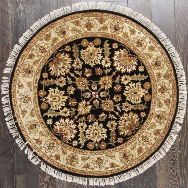 Black Persian-Style Hand Knotted Floral Round Persian Rugs (120 X 120) Photo 08