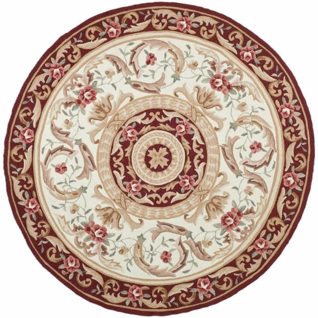 Dura Rug Ivory Burgundy Oriental Round Persian Rugs Images 64
