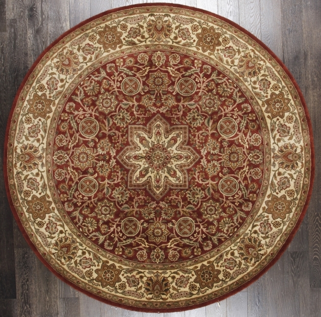 Ersian Classic Mahal Oriental Rust Beige Floral Round Persian Rugs picture 21