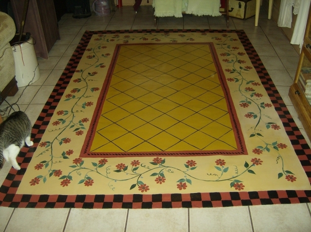 Floorcloth French Country Primitive Decor Hand Painted Primitive Cranberry Rug Image 70