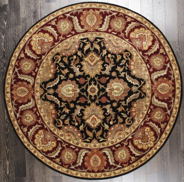 Masterpiece Round Persian Rugs Floral Persian Black Rust Wool Rug picture 51