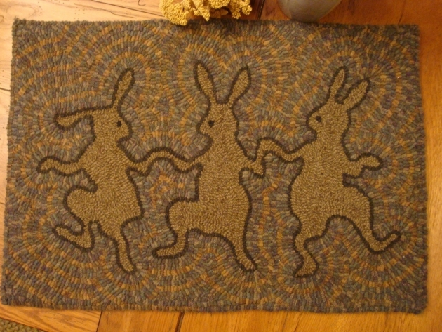 Primitive Hooked Rug Dancing Rabbit Bunny Spring Easter Antique Primitive Cranberry Rug Pictures 39