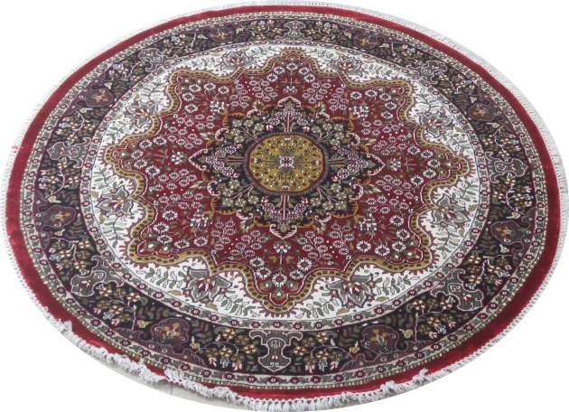 Rich Floral Persian Design Rug For Sale Kashmir Silk Round Persian Rugs Images 13