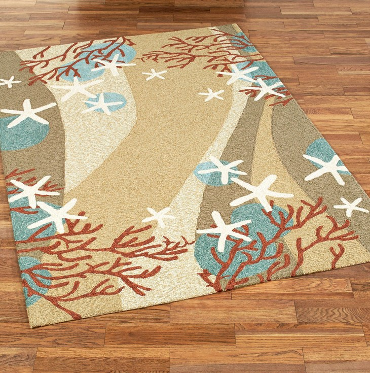 coral waves coastal indoor outdoor rugs Coastal Carpet Runners